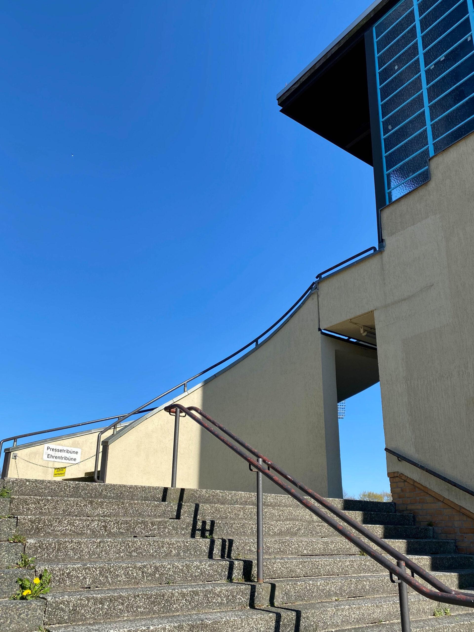 Mommsenstadium, 1930. Architect: Fred Forbát