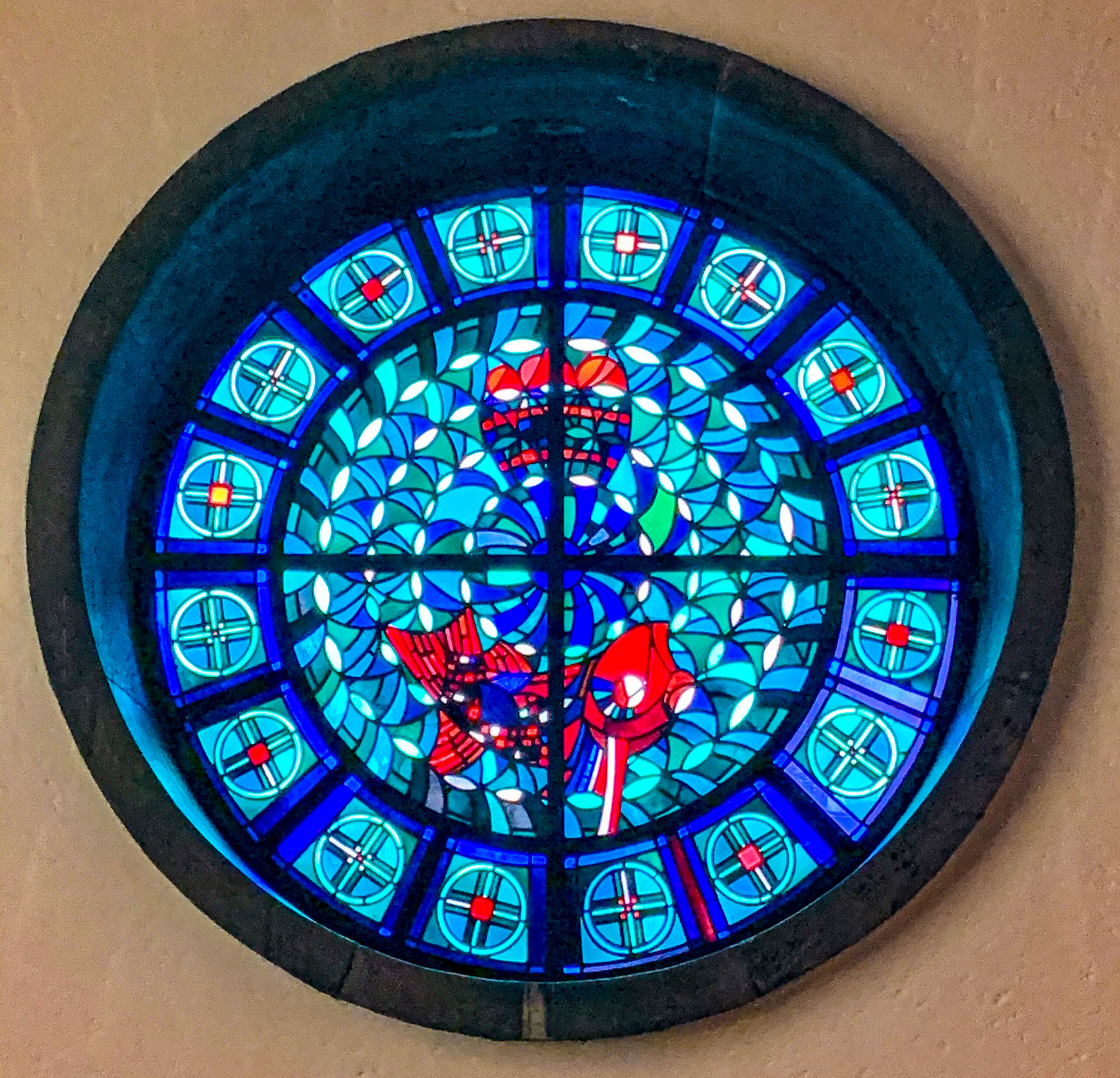Stained glass window. Crypt, Sankt Elisabeth