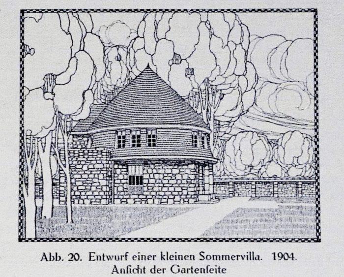 Peter Behrens: Entwurf einer kleinen Sommervilla, 1904. In: Fritz Hoeber: Peter Behrens, München 1913, S. 23.