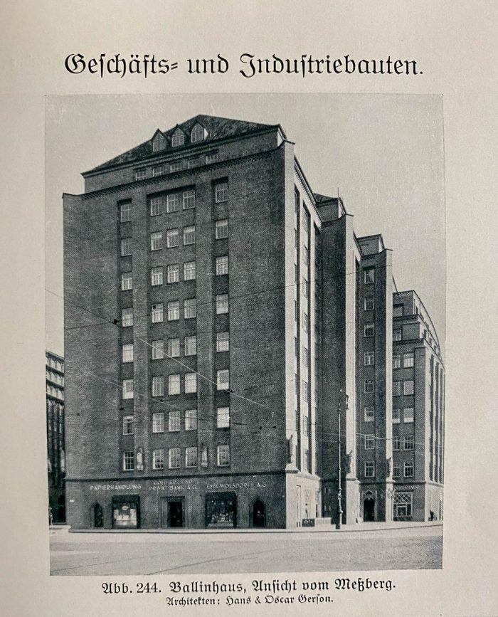 Ansicht Ballinhaus 1929. Aus: Hamburg und seine Bauten 1918-1929. Hamburg 1929.