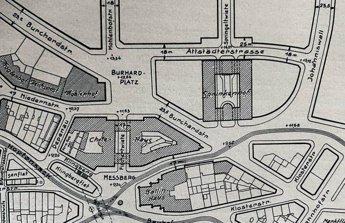 Lageplan des Gebiets südlich der Steinstraße mit Chile- und Ballinhaus. Aus: Hamburg und seine Bauten 1918-1929. Hamburg 1929.