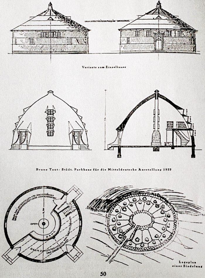 Bruno Taut: Municipal house in the park for the Mitteldeutsche Ausstellung 1922. In: Frühlicht, 1922, p. 50