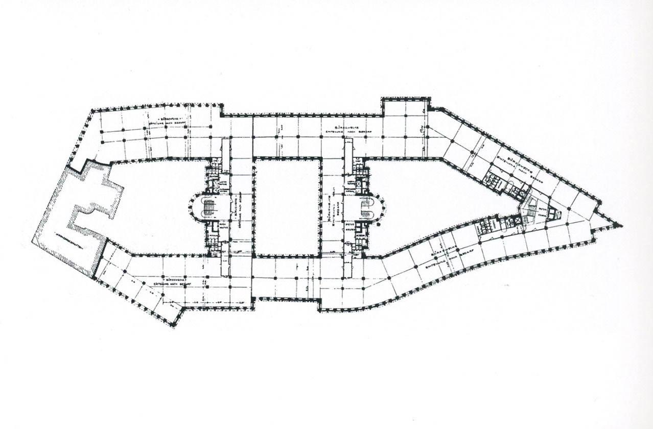 Grundriss. Chilehaus, 1922-1924. Architekt: Fritz Höger